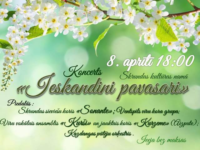 8. aprīlī Skrundas novadā – galda teniss, 5. teātra diena un koncerts