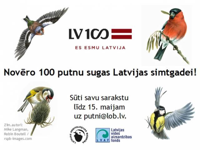 Novēro 100 putnu sugas Latvijas simtgadei